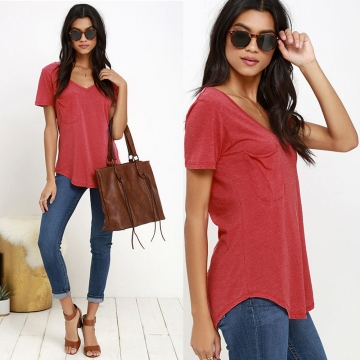 Pocket V-neck Pure Color Woman Short Sleeve T-shirt Red S
