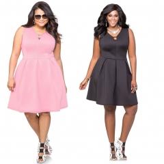 New Style V-neck Slim Sexy Over Sizes Lasies Dresses Black 3XL