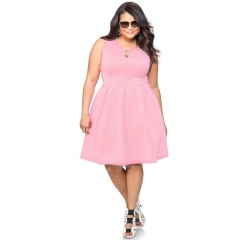 New Style V-neck Slim Sexy Over Sizes Lasies Dresses Pink 4XL