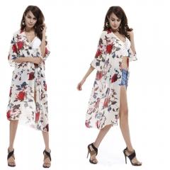 Long Beach Coat Tops Women Batwing Sleeve V-neck Printing Long Beach Tops White One size