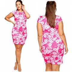Plus Size Round Neck Short Sleeve Bodycon Printed Dress As picture 7XL