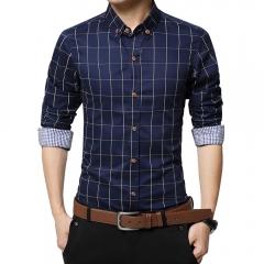 Men Long-sleeved Plaid Shirt Business Shirt Dark Blue 3XL