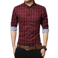 Men Long-sleeved Plaid Shirt Business Shirt Red 3XL