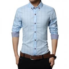 Men Long-sleeved Plaid Shirt Business Shirt Light Blue 3XL