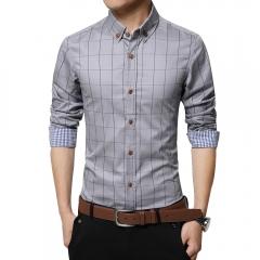 Men Long-sleeved Plaid Shirt Business Shirt Grey 3XL