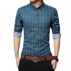 Men Long-sleeved Plaid Shirt Business Shirt Blue 3XL