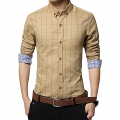 Men Long-sleeved Plaid Shirt Business Shirt Khaki 2XL