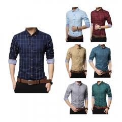 Men Long-sleeved Plaid Shirt Business Shirt white 3XL