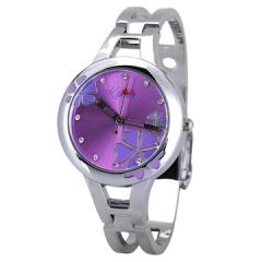Fashion Wrist Watch Printed Round Dial Quartz Watch Purple