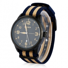 CURREN Unisex Stylish Quartz Watch with Nylon Strap Light tan+Blue