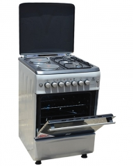 MIKA MST55PI22SL/HC 2 Gas Burner & 2 Electric Hot Plate with Oven & Grill - Silver