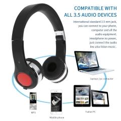Stretchable & Foldable Wireless Bluetooth Headset Headphone Black