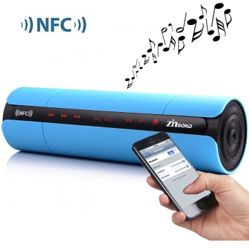 Multifunctional Portable KR8800 Matte Wireless Bluetooth V3.0 NFC Speaker with LED Screen FM Radio Blue One size