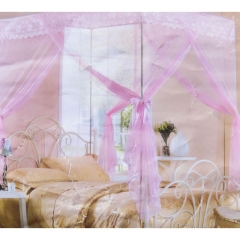 Classical 5*6 Floral Flat Topped Mosquito Pole Net - Pink