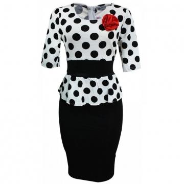 Julie Polka Dot Peplum Dress - White & Black M