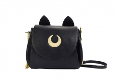 New women hand bags cross body vintage pu leather bags Moon Chain Shoulder Ladies Small Bag black one size
