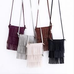 Hot Sale Mini Tassel Women Handbags Messenger Bag Ladies Crossbody Bag Vintage Bolsa Feminina grey one size