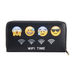 Expression Printing PU Leather Women Wallet  Purse For Woman Multifunction Card Holder With Phone black one size