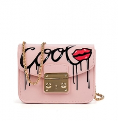 High Quality Leather Women Messenger Bag Brand Luxury Leather Bags Hot Fashion Sequined Sexy Bag pink one size