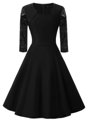 Summer Vintage Dresses Round Neck Pure 2017 A-Line Knee-Length Seven Points Sleeve Lace-Up Retro black S