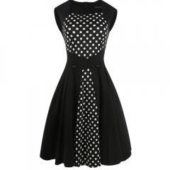 Ladies For Dresses Women's Sleeveless Vintage Retro  Dress Polka Dot 2017 Summer Party Dress black S
