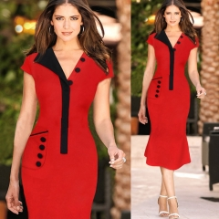 2017 office dressfor ladies Plus size Patchwork Dress Short sleeve Women Elegant office  red S