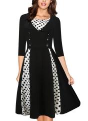 Ladies For Dresses Women's Half sleeve Vintage Retro  Dress Polka Dot 2017 Party Dress black S