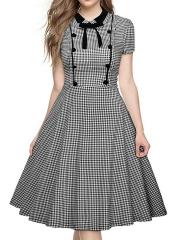 Summer Dress 2017 Fashion Black and White Retro Lattice Short-sleeved Baby Collar Bow Tie Poncho black S
