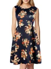 New A-line Women's floral Print Dress Princess Ladies Princess Party Dress Women's Dress blue S