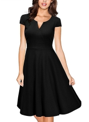 Woman 2017 Summer Vintage Dress Party Dresses Slim Elegant Ladies Evening Party black S