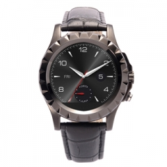 """Original Leather  BT3.0 Waterproof Wrist T2 Smartwatch For IOS Android 1.22"""" HD IPS Screen Black"""