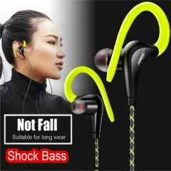 Earhook Earphones Waterproof Running Sweatproof Sports Stereo Bass Music Headset for Infinix /Cubot Green