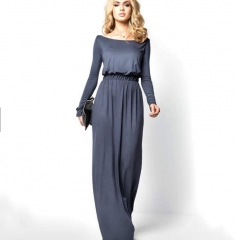 Women Ladies Sexy Long Sleeve Cocktail Maxi Long Dress grey s
