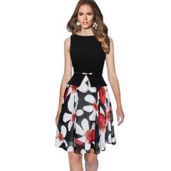 Summer women chiffon large pendulum fake fake two round neck sleeveless dress with belt Black + red flower M