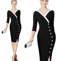 Autumn V neck office lady sleeve button button stitching Slim pencil skirt dress black S
