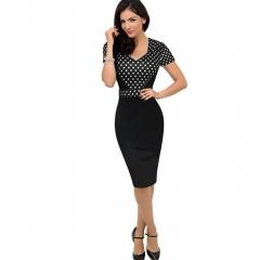 women V-neck short-sleeved stitching pencil skirt sexy wave point high waist package hip dress black M