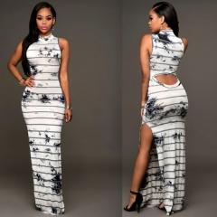 Sexy Striped Dyed Digital Print Dress Sleeveless Bandage Skirt white S