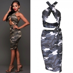 Army green hanging neck strap jacket + skirt sexy dress two sets army green S