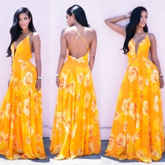 Deep v back cross harness yellow print dress yellow S