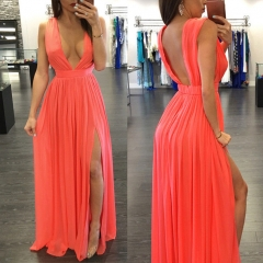 Opened dew deep V dress orange S