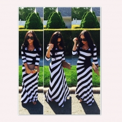 Black and white stripes wrapped around the buttocks dress black and white M