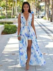 Printing deep V dress blue S