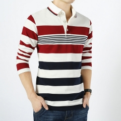Men England Style Striped Polo Shirt 95% Cotton Long Sleeve New 2016 Spring Brand clothing White M