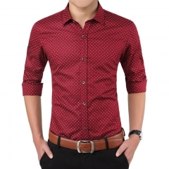 New Fashion Brand Men Clothes Slim Fit Men Long Sleeve Shirt Men Polka Dot Casual wine red m