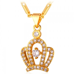 Crystal Crown Necklace Pendant 18k Gold/Platinum Plated Zirconia Pendant Women Jewellery Gift 18k gold plated length : 50 cm+5 cm