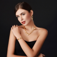 Heart-linked Jewellery Sets For Women Bridal Wedding 18k Gold Plated Statement Accessories gold plated one size