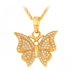 Crystal Butterfly Pendant Necklace Gold/Platinum Plated Zirconia Animal Necklace Women Gift gold plated one size