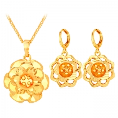 Hollow Flower Jewellery Sets For Women Yellow Gold/Platinum Plated Necklace Earrings Sets gold plated one size