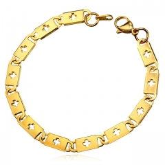Mes's Box Link Chain Bracelet Stainless Steel 18k Gold Plated Cross Chain Men Jewelry gold plated one size
