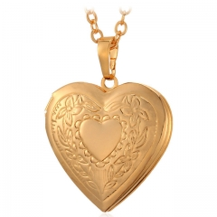 Heart Photo Locket Pendant Necklace 18k Gold/Rose Gold/Platinum Plated Women Gift Love Jewelry 18k gold plated length : 50 cm+5 cm